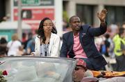 Keith Robinson, actor and musician, waves to the crowd.