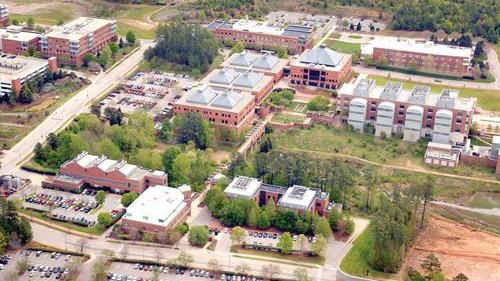 Aerial view of Centennial Campus at N.C. State University in Raleigh.