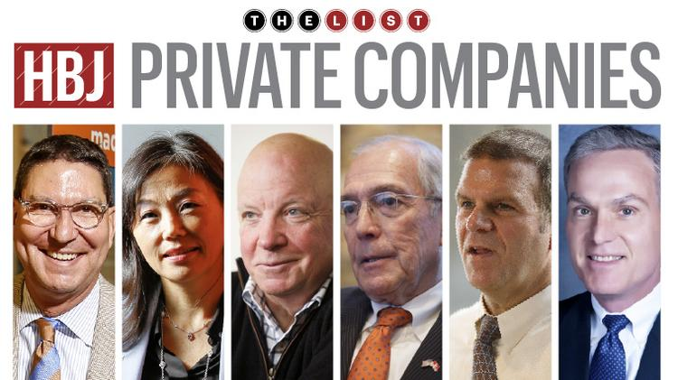 Top execs of some of the largest private employers in Houston. From left, H-E-B's Scott McClelland; EY's Deborah Byers; Igloo's Gary Kiedaisch; Silver Eagle Distributors; John Nau III; Landry's Tilman Fertitta; and Chevron Phillips Chemical's Pete Cella