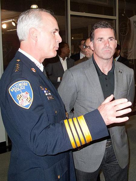 Former Baltimore Police Commissioner Frederick H. Bealefeld III, left, seen here in this 2011 photo with Under Armour CEO Kevin Plank.