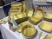 The dishware made by Leafware is made from palm leaves and is compostable.