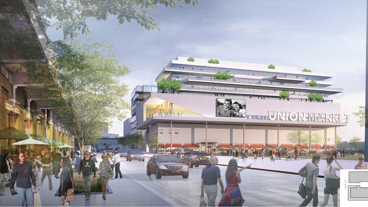 Is this the Union Market of tomorrow? Edens is proposing to build a theater atop the existing market building, and four stories of office atop the theater. A second office building, or possibly residential, would be located just to the north.