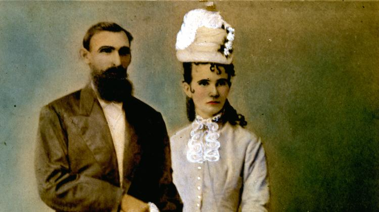 Lizzie Johnson and Hezekiah Williams on their wedding day, 1879. Johnson was one of the most successful businesswomen during the height of the cattle drive-era in Central Texas after the Civil War. According to a University of Texas biography, Johnson and Williams were married under a prenuptial agreement that protected her property and the two kept separate bank accounts, a rarity at the time. Click the image to see more items from the exhibit.