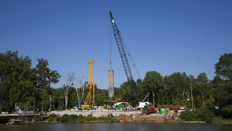 Construction crews work on the Kentucky side of the East End portion of the Ohio River Bridges Project.