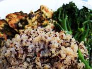 The Agra Plate, in this case made with sautéed cage-free chicken, Chimichurri sauce, broccolini, and quinoa. The menu at Agra Culture is heavy on vegetables, complex grains and lean protein.