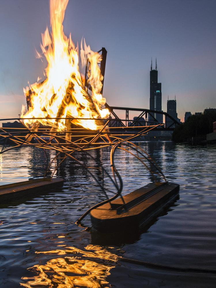 A rendering of what part of the Great Chicago Fire Festival spectacle could look like when it happens on the Chicago River in October.