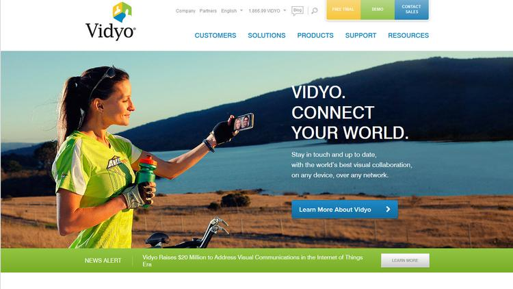 """Vidyo's home page. CEO and founder Ofer Shapiro says """"commodity devices available today"""" are perfect for """"visually connecting people at work."""""""