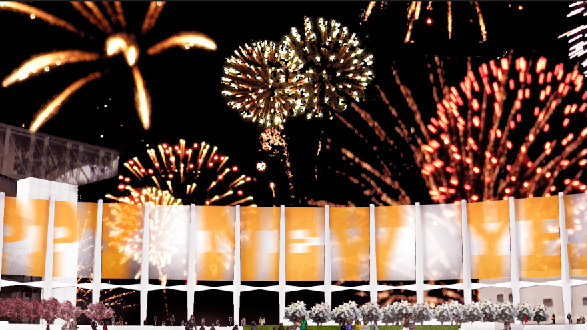 Rendering of fireworks over a proposed plan to tear down the Astrodome to make way for an open-air structure and green space — the Astrodome Hall of Fame and Dome Green.