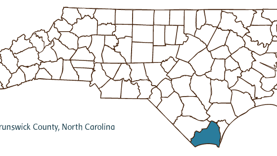 Map illustrating Brunswick County, North Carolina