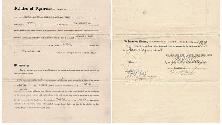 Babe Ruth's 1918 contract with the Boston Red Sox fetched more than $1 million at auction.