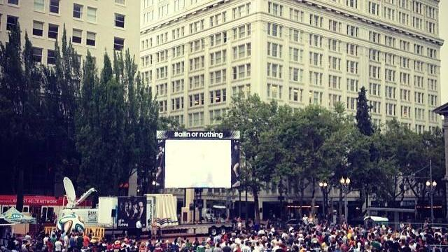 Hundreds flooded Pioneer Courthouse Square Sunday to watch the World Cup final.