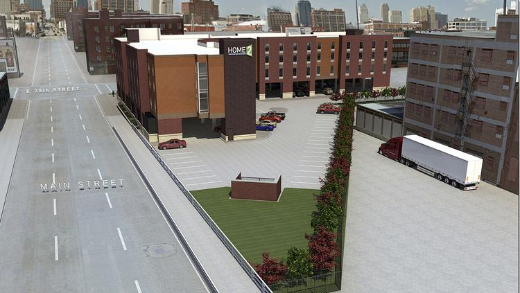 Construction on a 115-room Home2 by Hilton proposed at 20th and Main streets in the Crossroads Art District could begin late this year.