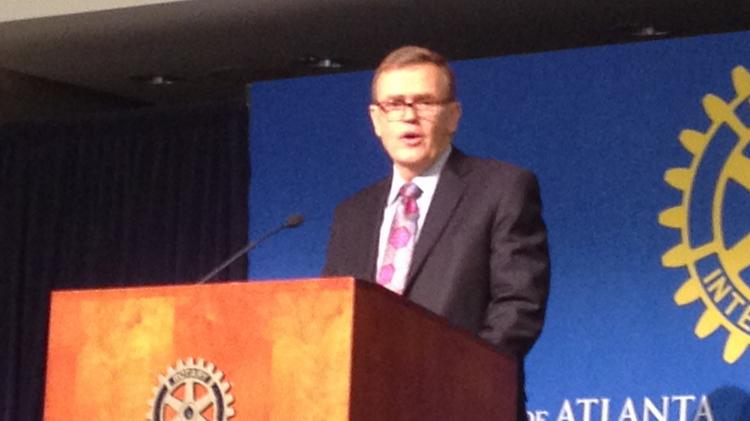 United Parcel Service Inc. CEO-elect David Abney speaks at the Rotary Club of Atlanta on July 14, 2014.