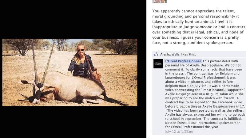 Belgian teen and short-lived L'Oreal star Axelle Despiegelaere in controversial hunting pic