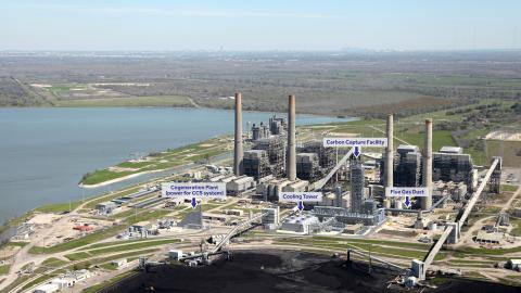 The aim of the $1 billion project at the WA Parish power plant, pictured in this rendering, is to boost oil production from pollution.