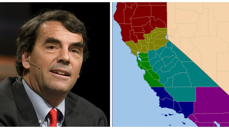 Venture capitalist Tim Draper, left, put forth a proposal to split California into six states. His team says it has enough signatures to be on the ballot in two years.