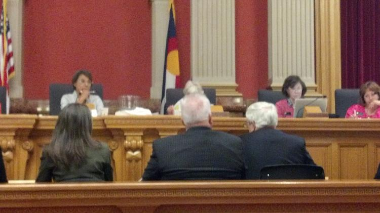 Ed Nichols (right), president and CEO of the History Colorado Center, answers questions from the Legislative Audit Committee on July 15, 2014.