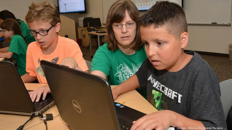 7-14-2014, Siena College Minecraft camp. center, Michele McColgan, Ph.D., with (left) 10 year old Chase Mancini & 11 year old Marcus Bollacker