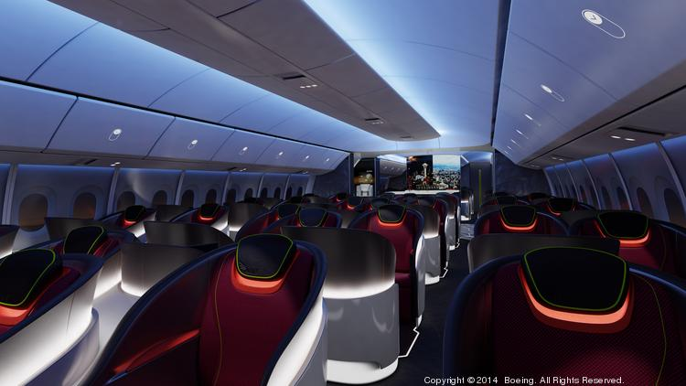 The new Boeing 777X interior will echo that of the 787 Dreamliner.