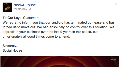 Social House announced its closure on Facebook.