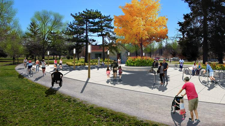 This is a rendering of Phase 2 of the project, to begin in future years. Phase 1 of the comfort station project focuses on providing year-round heat, new bike racks and drinking fountains and fresh landscaping.