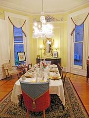 The dining room in the DuPont Mansion was stylishly set for an Oaks Day brunch,
