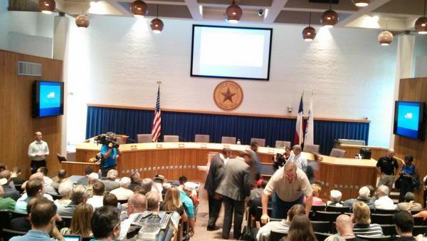 The Denton City Council chambers was packed for Tuesday night's meeting.