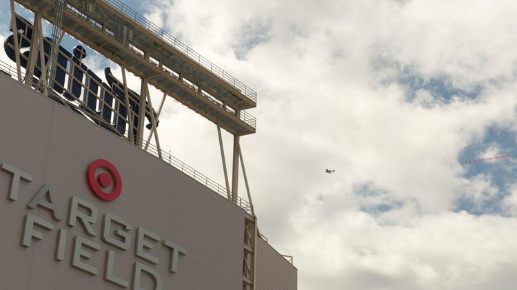 ForestEthics protested 3M with a banner towed by an airplane over Target Field before Tuesday's MLB All-Star Game.