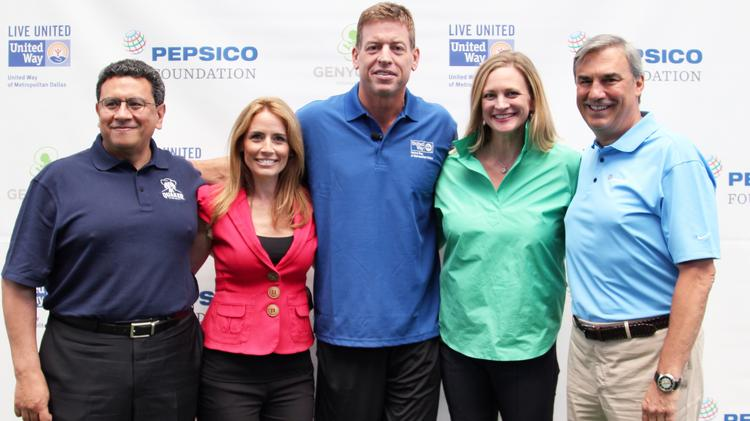Jose Luis Prado, president of Quaker Foods North America; Alexis Glick, CEO of GENYOUTH Foundation; former Dallas Cowboys quarterback Troy Aikman; Jennifer Sampson, president and CEO of United Way of Metropolitan Dallas; and Tom Greco, president of Frito-Lay North America, united at AT&T Stadium to announce the $700,000 grant to the Healthy Zone Schools program.