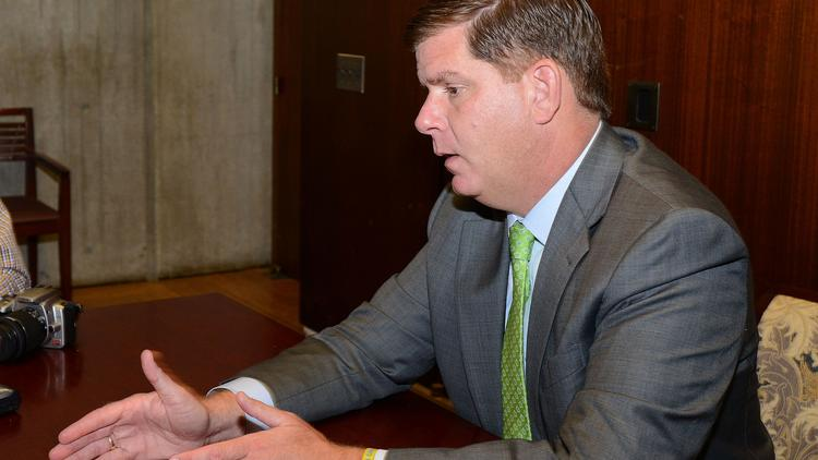 Mayor Martin J. Walsh discusses the results of an audit of the Boston Redevelopment Authority with reporters on Wednesday at City Hall.
