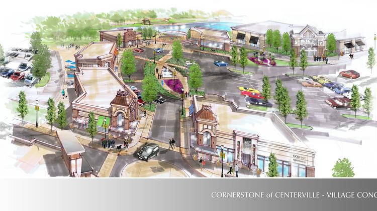 The $165 million Cornerstone of Centerville development will include 460,000 square feet of retail and create 1,200 jobs. The village portion of the development is shown in the rendering.