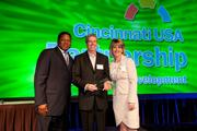 From left, Quinten Harris, director of strategic project management for the Partnership; Growth Award winner Dave Palm of DunnhumbyUSA; and Denyse Ferguson of the Cincinnati USA Partnership.