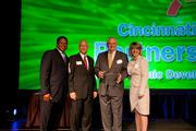 From left, Quinten Harris, director of strategic project management for the Partnership; Growth Award winners Brian Papke and Mike Vogt of Mazak Corp.; and Denyse Ferguson of the Cincinnati USA Partnership.