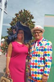 This colorful couple was spotted near the paddock.