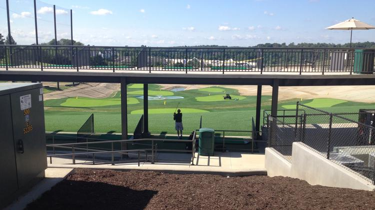 View from behind the two-tier driving deck at Cool Springs Sports Complex.