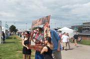 A ready-made photo frame in the infield.