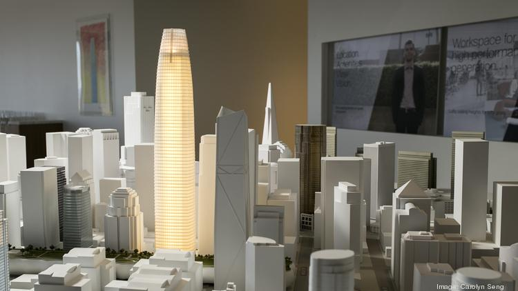 A model of the Salesforce Tower in the building's marketing center.