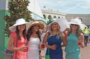 From left, Megan Roof, Jamie Sharp, Jade Enyeart and Amanda Harper, all of Floyds Knobs, enjoyed Oaks Lily drinks.