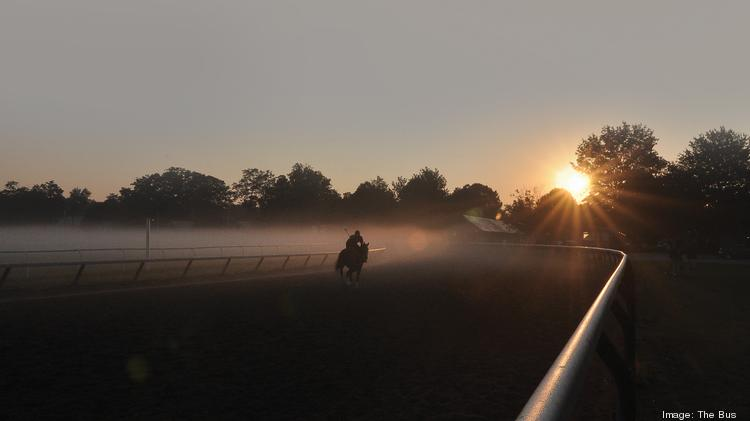 Morning workout at Saratoga Race Course. The thoroughbred racing season opens July 18 in Saratoga Springs, New York.