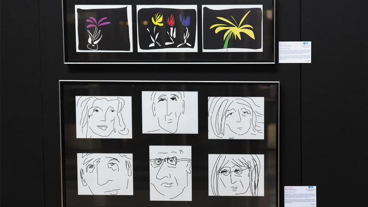 Some of David Gentile's doodles are on display at Union Station.