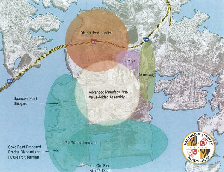 A map unveiled on Friday by Baltimore County details the planned future of Sparrows Point