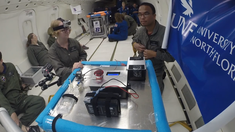 A screen grab of a video the UNF students made, while flying into zero-gravity with their NASA experiment.