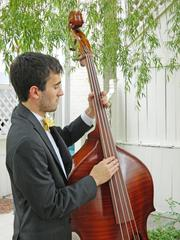 Luke Gnadiner strummed the bass while performing a folk song at the garden party. The brothers take turns playing the three instruments during their performances.