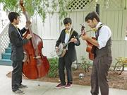 Brothers Luke, Kyle and Dean Gnadinger, left to right, performed Bluegrass and folk music for an appropriate background at Herb and Gayle Warren's Derby cocktail party at the DuPont Mansion on Thursday. The Gnadinger brothers' band is called Sunfish Tumblers.
