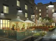 A rendering of the outdoor seating at the restaurant at the Hotel Indigo in Alexandria.
