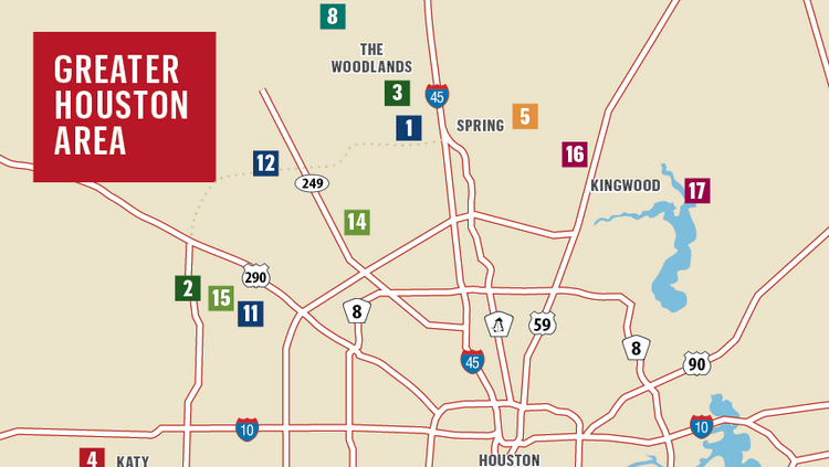 This map shows where you can find noteworthy communities in the Houston area that were developed by residential development companies on The List.