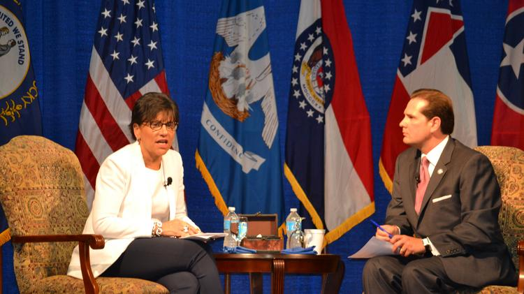 Penny Pritzker, Secretary of the U.S. Department of Commerce, discusses the growth of the U.S. export market with Chris Masingill, chairman of the Delta Regional Authority, in Memphis on July 17.