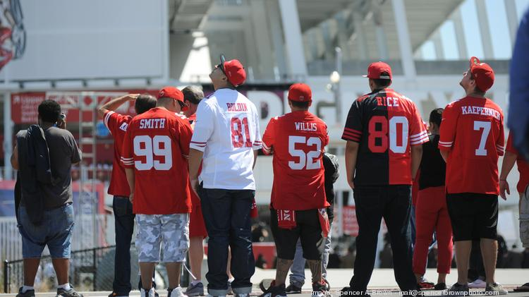 Some of the 49er faithful gathered outside the ribbon-cutting ceremony.