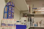 A supply closet in the back of the clinic.