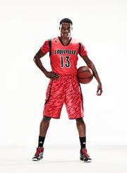 A model wears the University of Louisville's new jersey designed by Adidas.
